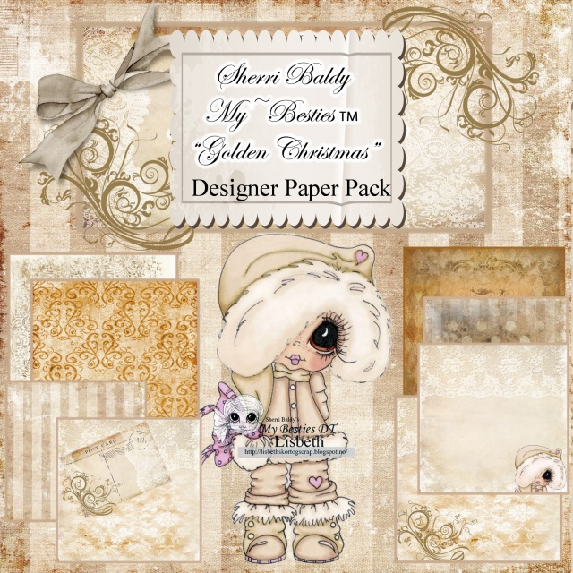create with sherri baldy designer papers this is an 8 pack golden christmas 6 x 6 instant download - Golden Christmas 3