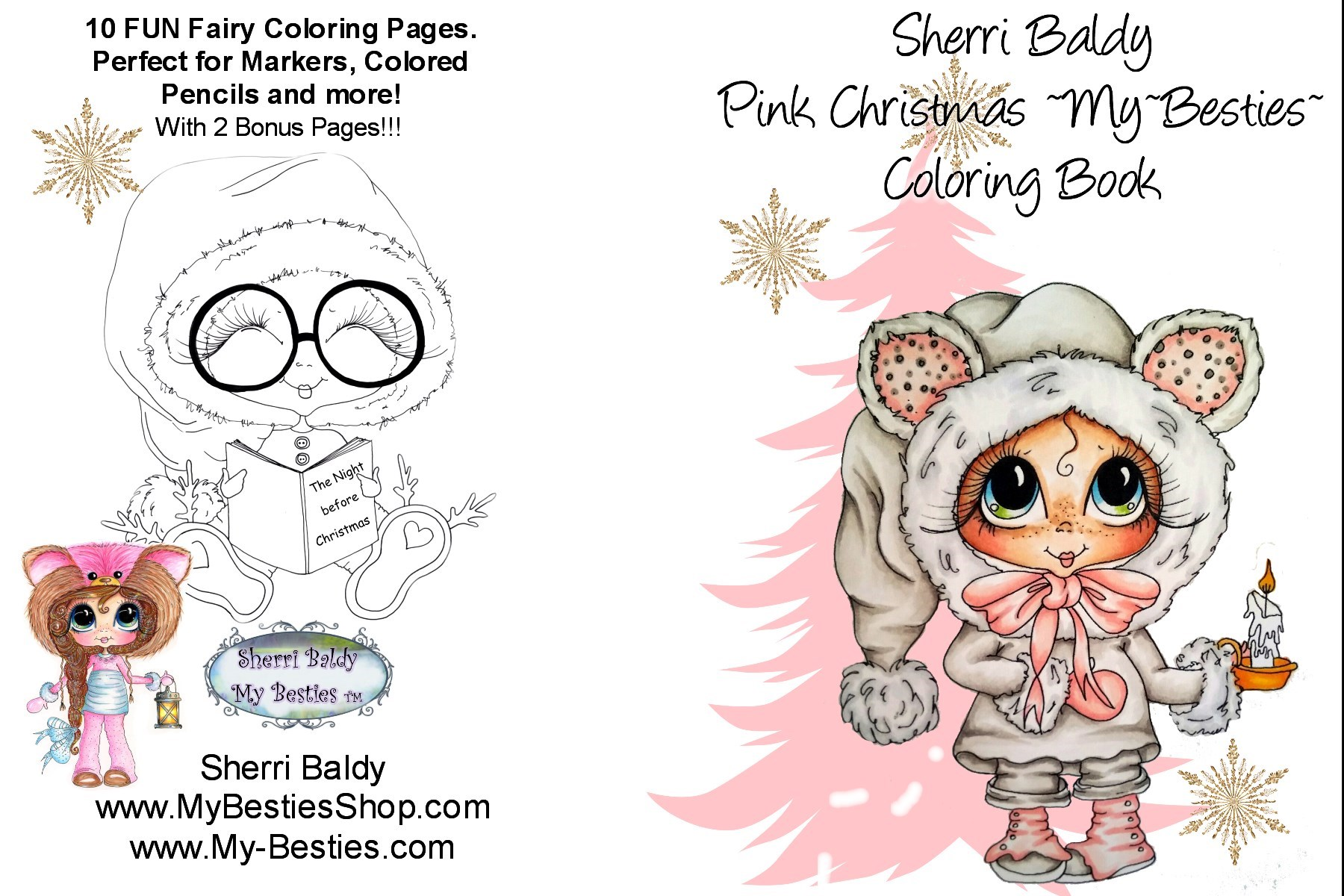 Pink Christmas Coloring Book Pages Packet 5 X 7 10 2 Bouns Big Eye Head Dolls My Bestie By Sherri Baldy