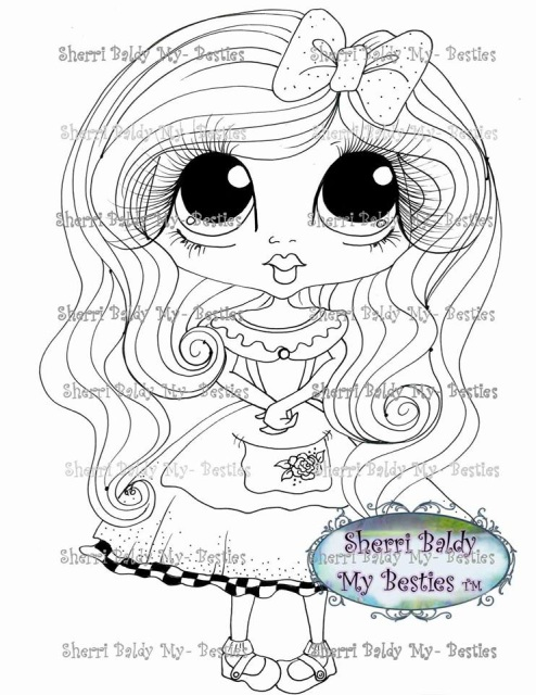 instant download digital digi stamps big eye big head dolls digi besties little alice img128 by Adult Coloring Books  Besties Coloring Books