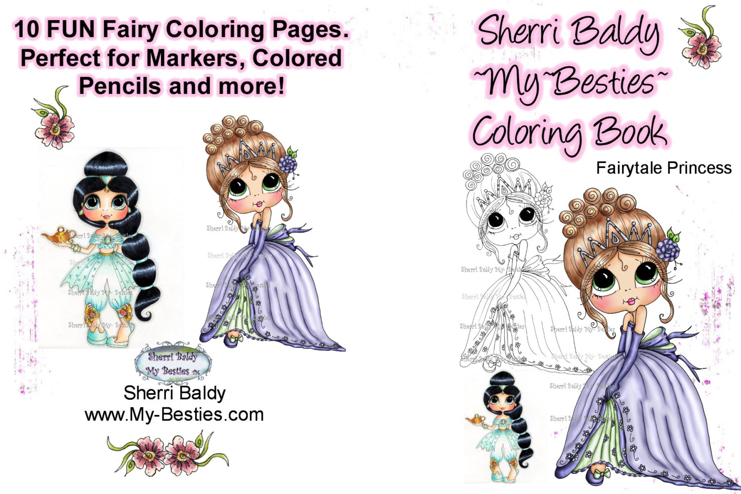 Coloring Book 5 x 7 Fairytale Princess 10 pages Big Eye Big Head